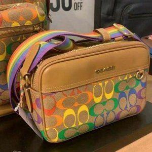 Coach Rainbow Multicolor Leather Pvc CrossBody Bag